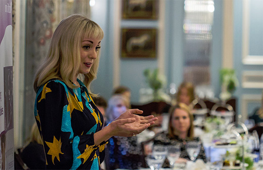 Helen George speaks to the guests